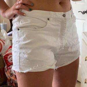 Basic white jean shorts mid rise